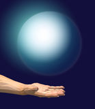 Hand holding a blue sphere. Hand holding a sphere. 3D illustration royalty free illustration