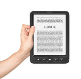 Hand holding Board on e-book reader Royalty Free Stock Photography