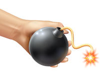 Hand Holding A Bomb Illustration Stock Image