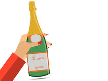Hand holding a bottle of champagne. Female hand. Wine. Vector illustration Royalty Free Stock Images