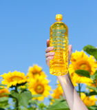 Hand holding bottle of sunflower oil Stock Photo