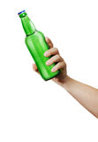 Hand holding a bottle. Template for the ability to use any brand label on a white background Royalty Free Stock Photos