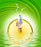 Hand holding a bottle of water vector illustration