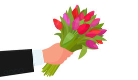 Hand holding a bouquet of flowers on a white background. Congratulations happy birthday, International Women`s Day on March 8th. Vector illustration in a flat Royalty Free Stock Photos