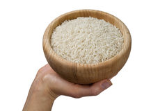 Hand holding bowl of rice Stock Photos