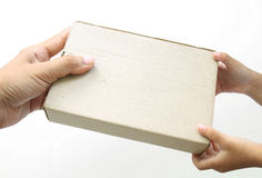 Hand holding a box on white background Stock Image