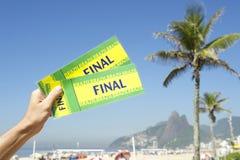 Hand Holding Brazil Final Tickets Palm Trees Rio de Janeiro Stock Photos