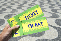 Hand Holding Brazil Tickets Copacabana Rio de Janeiro Royalty Free Stock Photography
