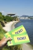 Hand Holding Brazil Tickets Niteroi Rio de Janeiro Royalty Free Stock Photos