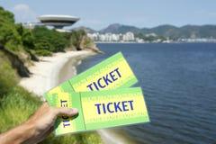 Hand Holding Brazil Tickets Niteroi Rio de Janeiro Royalty Free Stock Photography