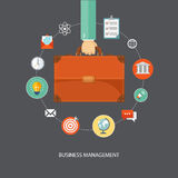 Hand holding briefcase with icons. Business management flat illu Stock Images