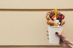 Hand holding bubble waffle with fruits, chocolate and marshmallow, with copy space.  Royalty Free Stock Photo