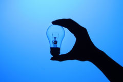 Hand holding a bulb. With a blue background Royalty Free Stock Photography