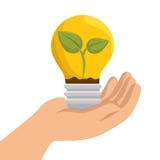 Hand holding bulb ecology emblem. Illustration eps 10 Royalty Free Stock Photos