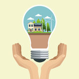 Hand holding bulb modern house ecology energy Stock Photo