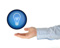 Hand holding bulb Royalty Free Stock Image