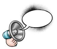 Cartoon Megaphone Speech Bubble stock illustration