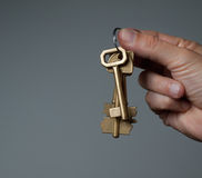 Hand holding bunch of keys Stock Image
