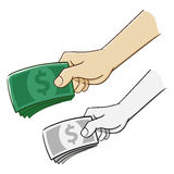 Hand Holding A Bunch of Money. Hand holding a lot of money vector illustration Stock Photos