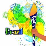 Hand holding Burning Torch for Sports concept. Illustration of a man's hand holding Burning Torch on Brazilian Flag color fireworks decorated background, Can be Stock Photography