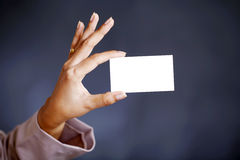 Hand holding a business card Stock Photos