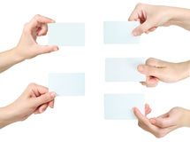 Hand holding business card Stock Photos