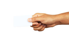 Hand holding a business card. Stock Images