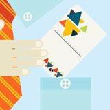 Hand Holding Business Card In Flat Design Style Royalty Free Stock Images