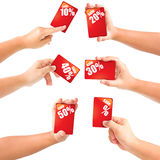Hand holding business card sale with discounts. Stock Photography
