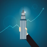 Hand Holding Business Tower Royalty Free Stock Photos