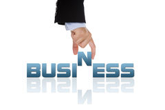 Hand holding the business word Stock Photo