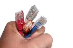Hand holding cables. Man's hand holding 4 differente net cables stock photography