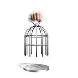 Hand holding the cage. Hand opening the cage, isolated on white background royalty free stock photo