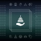 Hand holding a cake icon. Signs and symbols - graphic elements for your design Royalty Free Stock Photo
