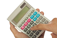 Hand, holding calculator Royalty Free Stock Photos