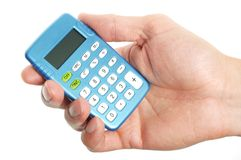 Hand holding a calculator Royalty Free Stock Images