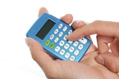 Hand holding a calculator Stock Photography