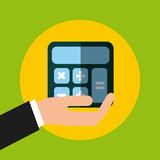 Hand holding a calculator icon. Hand holding a calculator device icon over yellow circle and green background. colorful design.  illustration Stock Images