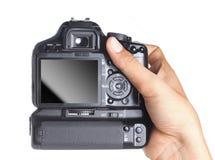 Hand holding camera stock photography