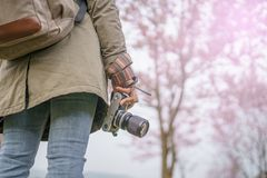 Hand holding camera with beautiful natural. Background Stock Photography