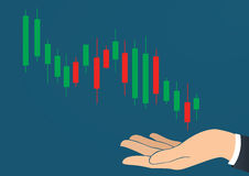 Hand holding candlestick chart icon vector. EPS 10 royalty free illustration