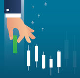 Hand holding a candlestick chart stock market icon vector background. EPS 10 Royalty Free Stock Photos