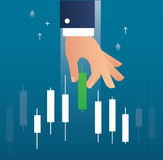 Hand holding a candlestick chart stock market icon vector background. EPS 10 Royalty Free Stock Image