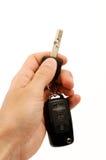 Hand holding car keys stock photos