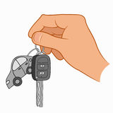 Hand holding car keys. Illustration of a hand holding car keys isolated on a white background Stock Photography