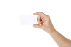 Hand holding card stock photo