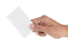 Hand is holding a card Royalty Free Stock Photos