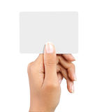 Hand holding a card Stock Image