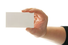 Hand holding card Stock Image