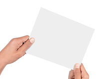 Hand holding card. Isolated on white background Royalty Free Stock Photography